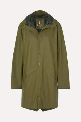 Rains Hooded Matte-pu Raincoat - Green