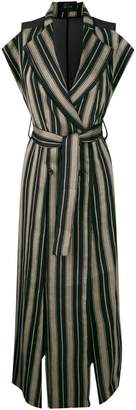 Lost & Found Ria Dunn striped high slit double breasted coat with belted waist