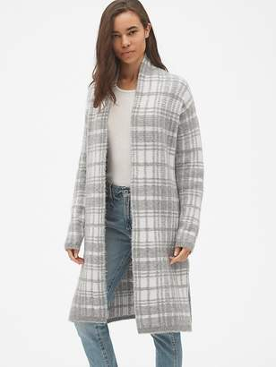 Gap Longline Plaid Open-Front Cardigan Sweater