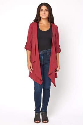 Abbeline Woven Rolled Sleeve Draped Cardigan