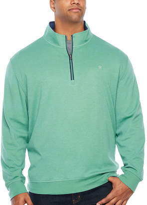 Izod Long Sleeve Heavy Weight Interlock Quarter-Zip Pullover Big and Tall