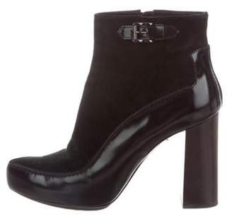 Tod's Suede Round-Toe Ankle Boots Black Suede Round-Toe Ankle Boots