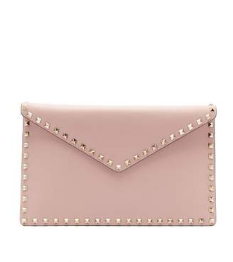 Valentino Rockstud Leather Envelope Clutch - Womens - Light Pink