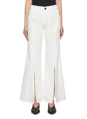 Chloé Split front cuff contrast topstitching flared jeans