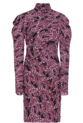 Isabel Marant Jisola Ruched Printed Jersey Mini Dress