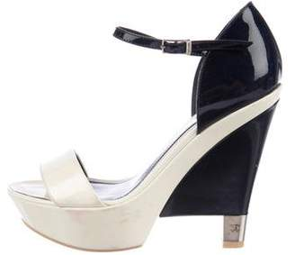 Chanel Patent Wedge Sandals