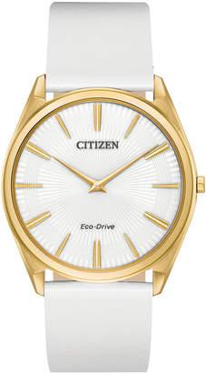 Citizen Eco-Drive Women Stiletto White Leather Strap Watch 39mm