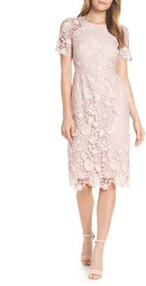 Eliza J Embroidered Lace Sheath Dress
