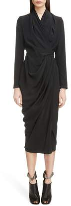 Rick Owens Draped Silk Wrap Dress