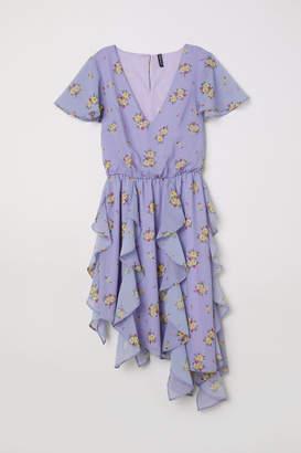 H&M Chiffon Dress with Flounces - Purple