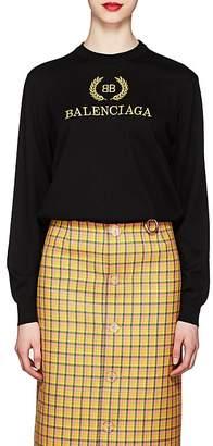Balenciaga Women's Logo Virgin Wool Sweater
