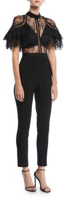 Self-Portrait Fine Lace Paneled Slim-Leg Jumpsuit