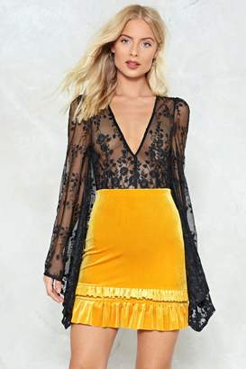 Nasty Gal Velour to the Point Ruffle Skirt