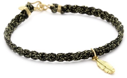 Chibi Jewels Metallic Black Cord with Vermeil Feather Bracelet