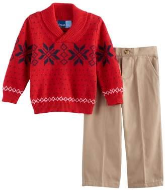 Baby Boy Great Guy Snowflake Shawl Pullover Sweater & Khaki Pants Set