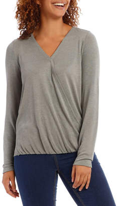 Cross Over Front Long Sleeve Marle Tee