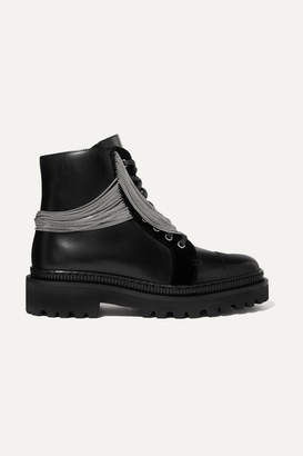 Balmain Ranger Embellished Lace-up Leather Ankle Boots - Black
