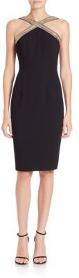 Carmen Marc Valvo Beaded Halter Dress $680 thestylecure.com