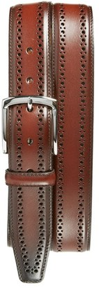 Men's Allen Edmonds 'Manistee' Brogue Leather Belt $120 thestylecure.com
