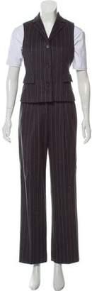 Michael Kors Angora & Wool-Blend Pinstripe Pantsuit
