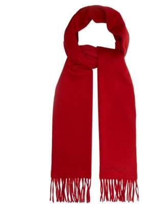 Alexander McQueen Fringe Trim Cashmere Scarf - Mens - Red