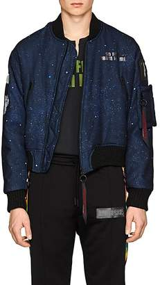 Off-White c/o Art Dad Men's New Age Galaxy-Print Tech-Satin Bomber Jacket