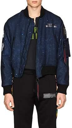 Off-White c/o Art Dad Men's New Age Galaxy-Print Tech-Satin Bomber Jacket
