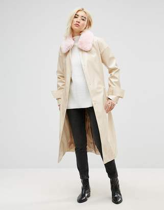 Asos DESIGN Vinyl Trench with Faux Fur Collar