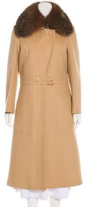 St. John Fox-Trimmed Wool Coat