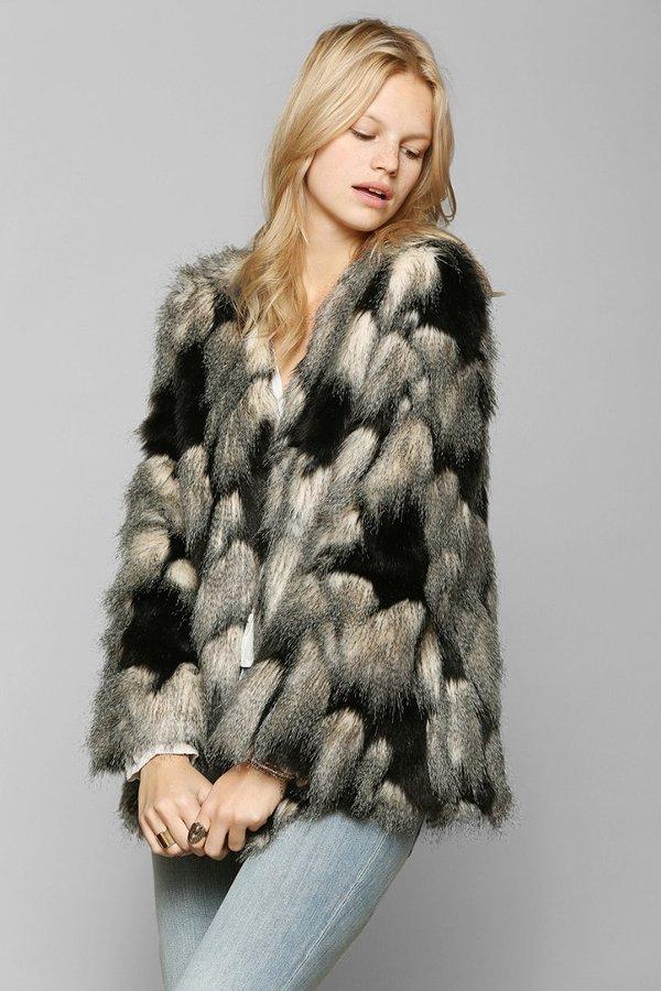 Ladakh Pieced Faux Fur Jacket