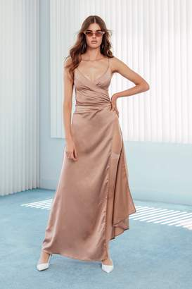 Nasty Gal Womens Right Bride Your Side Satin Maxi Dress - Beige - 12, Beige