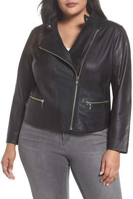 Halogen Leather Moto Jacket (Plus Size)