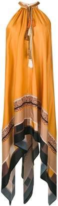 Just Cavalli tassel neck asymmetric dress