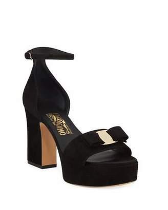 Salvatore Ferragamo Eclipse Suede Bow Sandals