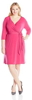 NY Collection Womens Plus Matte Jersey Ruched Wear to Work Dress