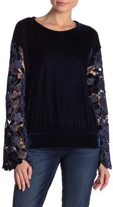 STELLAH Velvet Lace Sleeve Velour Top