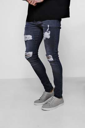 boohoo Super Skinny Jeans With Distressed Knees And Thighs