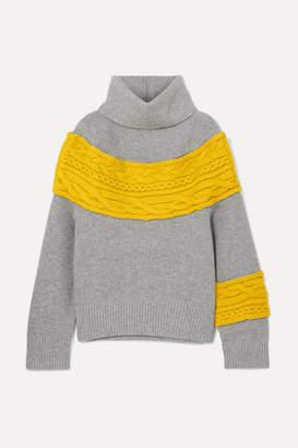 Sacai Cable Knit-paneled Wool-blend Turtleneck Sweater - Gray