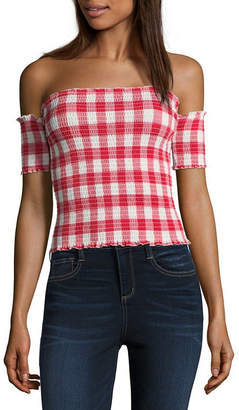 Almost Famous Short Sleeve Straight Neck Jersey Plaid Blouse-Juniors