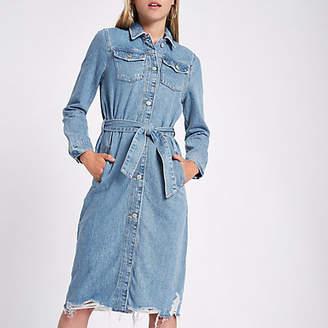 River Island Denim longline tie waist shirt dress