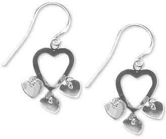 Giani Bernini Heart Dangle Drop Earrings in Sterling Silver