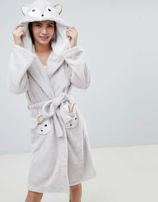Loungeable Fuzzy Sherpa Fleece Squirrel Dressing Gown 7edf04158