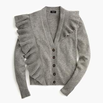J.Crew Everyday cashmere ruffle-knit cardigan sweater