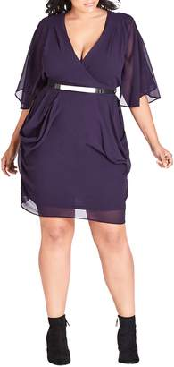 City Chic Belted Wrap Dress