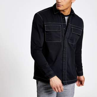 River Island Mens Black contrast overshirt