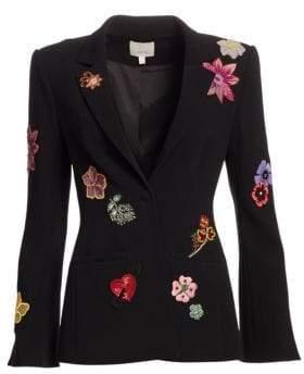 Cinq à Sept Women's Rumi Botanical Embroidered Blazer - Black Multi - Size 14