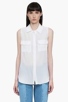 Genuine People Silk Sleeveless Button Down Shirt