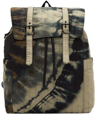 Dries Van Noten Green Structured Tie-Dye Backpack