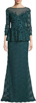 Rickie Freeman For Teri Jon Velvet Flower & Lace Peplum Gown