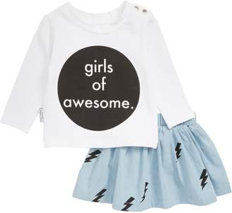 TINY TRIBE Girls of Awesome Tee & Skirt Set